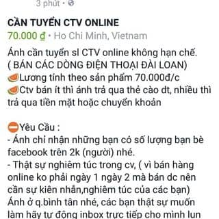 Cần tuyển CTV online hoa hồng 70.000đ của thino50 tại Hồ Chí Minh - 3420402